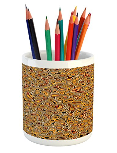 Ambesonne Psychedelic Pencil Pen Holder, Abstract Hallucinatory Plasma Shapes with Ethnic Eastern Marbleized Print, Printed Ceramic Pencil Pen Holder for Desk Office Accessory, Orange Brown (Ceramic Marbleized)