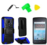 Holster Belt Clip + Hybrid Cover Phone Case + Screen Protector + Extreme Band + Stylus Pen + Pry Tool for ZTE Quest N817 Virgin Assurance QLink N-817 Legacy (Holster Belt Clip Black/Blue)