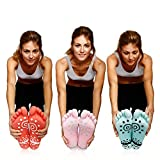 Super Grip Yoga Toe Socks 3 Pack - Active Socks for Pilates & Pure Barre - Non Slip Superior Grips for Women's & Girls