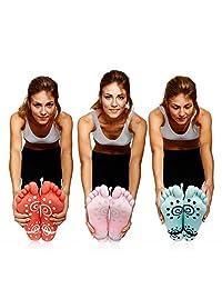 Super Grip Yoga Toe Socks – 3 Pack - Active Socks for Pilates & Pure Barre - Non Slip Superior Grips for Women's & Girls