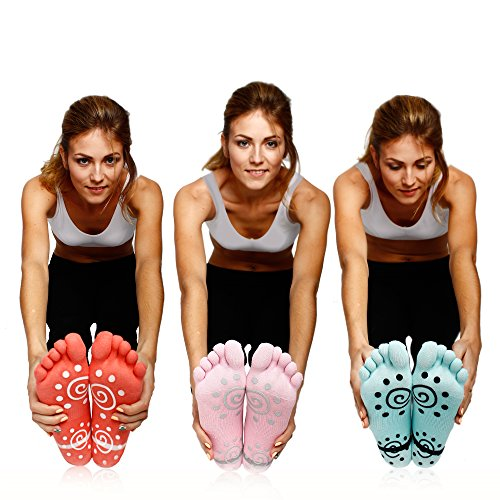 Super Grip Yoga Toe Socks 3 Pack - Active Socks for Pilates & Pure Barre - Non Slip Superior Grips for Women's & Girls by ST-FiT