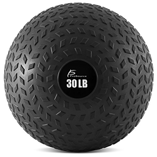 ProSource Slam Medicine Balls 5, 10, 15, 20, 25, 30, 50lbs Smooth and Tread Textured Grip Dead Weight Balls for Crossfit, Strength and Conditioning Exercises, Cardio and Core Workouts