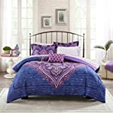 Mainstays* Teens' Grace Purple Floral Reversible Medallion Bedding Queen Size Comforter Sets for Girls (6 Piece in a Bag)