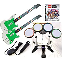 Playstation 3 PS3 LEGO Rock Band Video Game Complete Bundle with 2 Wireless Guitars, Wireless drums + USB Microphone hero kit set play music