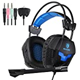 Sades SA921 Gaming Headset for PS4 Xbox360 PC iPhone Smart Phone Laptop iPad Mobilephones, Multi Function Pro Game Headphones with Mic (Black) from Sades