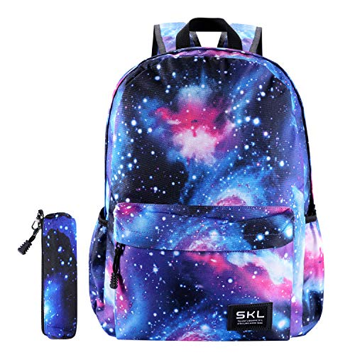 Galaxy School Backpack SKL Unisex School Bag Canvas Rucksack Laptop Book Bag Satchel Hiking Bag for Boys Girls (Galaxy Blue with Pencil Bag)