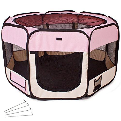 TecTake® Welpenlaufstall Tierlaufstall pink für Kleintiere wie Hunde, Hasen, Katzen
