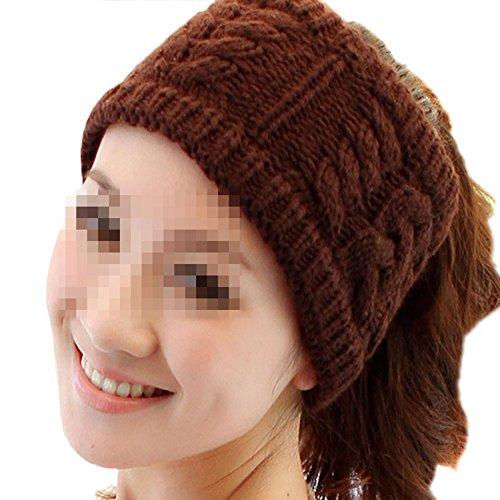 Price comparison product image Nsstar Women Lady Grils Winter Warmer Korea Knit Crochet flora Twist Style Hair Band Headband Head Wrap Hair Band Ear Warmer (Coffee)