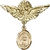 14kt Yellow Gold Baby Badge with St. Anastasia Charm and Angel w/Wings Badge Pin 1 1/8 X 1 1/8 inches