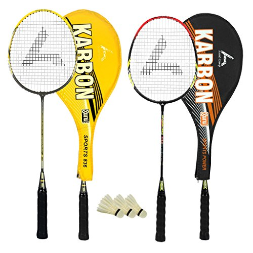 Guru Karbon BR03 COMBO-03 Badminton Racket Set Pack of Two With Two Cover & 3 Shuttlecock Size: 27...