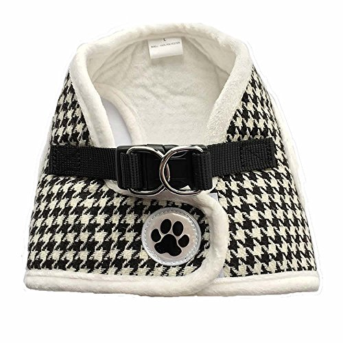 Lanyar Houndstooth Fleece Padded Winter Harness Vest for Pets, Medium: Neck 11
