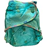 Natural Bamboo Velour Fitted One Size Cloth Diaper w/ 2 Inserts (Jade Green)
