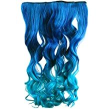 """AGPtek 26"""" Enstyle Supreme Neon Tangle Curly 100% Human Color Hair Extension Ponytail- Dark blue to Royal Blue"""