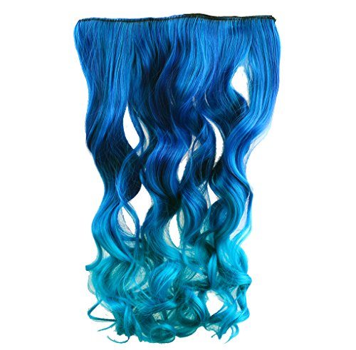 upreme Neon Tangle Curly 100% Human Color Hair Extension Ponytail- Dark blue to Royal Blue ()