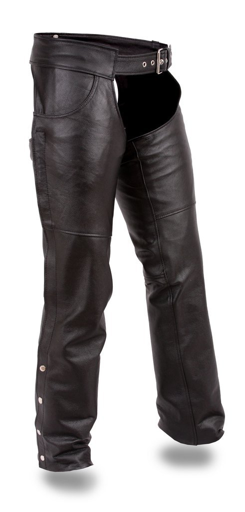 First Mfg Co Unisex-Adult Rally Leather Motorcycle Chaps Black 6X-Large