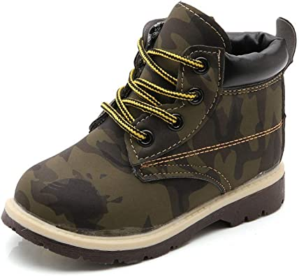 Boys Girls Lace Up Army Combat Flats Ankle Boots Leather Sneakers Winter Shoes