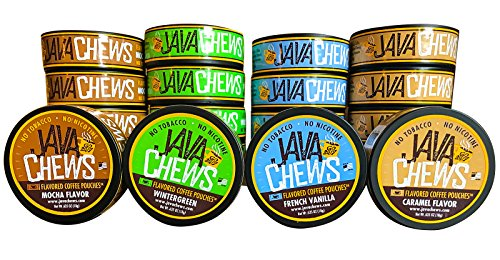 Java Chews, Premium Flavored Coffee Pouches, No Tobacco, No Nicotine Smokeless Alternative, Caramel, French Vanilla, Mocha, & Wintergreen Variety Pack (4 Cans)