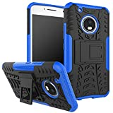 Parallel Universe Moto G5 Plus Dual Layer Rugged and Tough Defender Back Cover Case with built-in stand- Blue