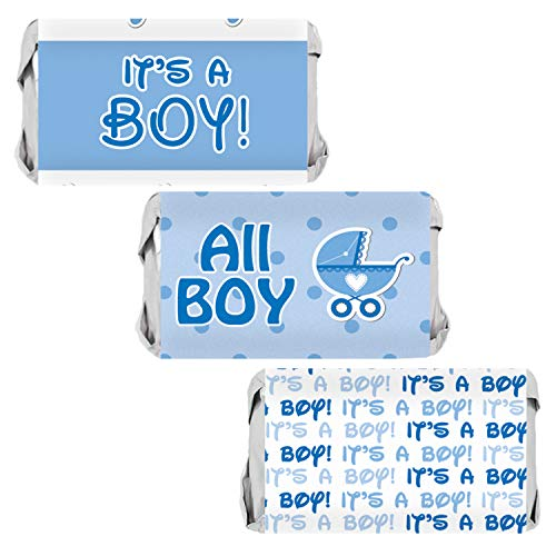 Boy Candy - It's a Boy Baby Shower Mini Candy Bar Wrappers | Blue Footprint Theme | 54 Stickers