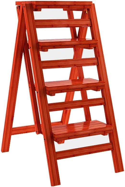 Escalera de Madera Portable Step Stool Chair multifunción 4 Step Ladder Plegable Hogar Cocina Herramientas de jardinería Decoración del hogar Carga máxima 150 kg: Amazon.es: Hogar