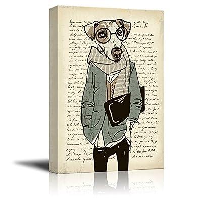 Creative Animal Figure on Vintage Paper Mr Dog Wearing Glasses, Quality Artwork, Dazzling Artisanship