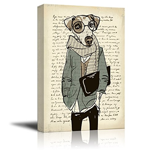 Creative Animal Figure on Vintage Paper Mr Dog Wearing Glasses