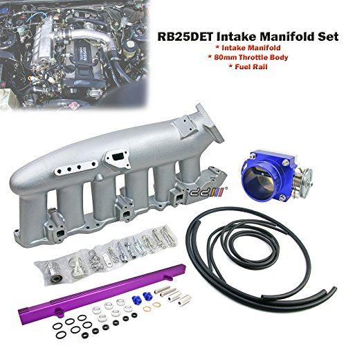 Intake Manifold+80mm Throttle Body+Fuel Rail For Skyline R32 R33 GTS-T RB25DET