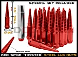 32pc Hummer H2 8-Lug 8x6.5 Red M14x1.5 Metal Twisted Spike Lug Nuts (4.5'') + 1 Key Fits Years 2003 2004 2005 2006 2007 2008 2009 2010