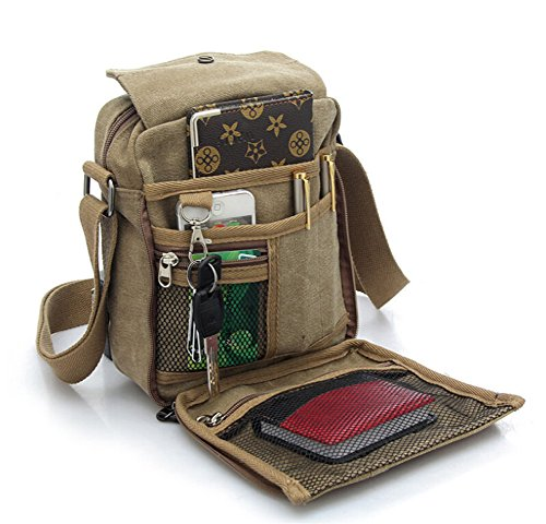 Tonwhar® Unisex Fashion Canvas Messenger Bag funcional maletín Varios Bolsillos, caqui (Varios colores) - bag204 caqui
