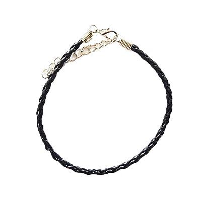 Braided Leather Ankle Bracelet Black Amazon Co Uk Jewellery