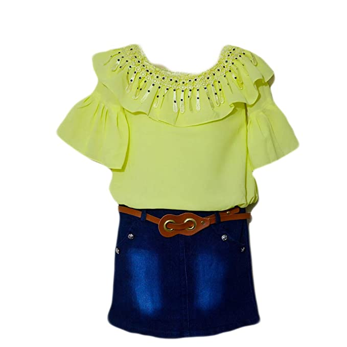 3a59db0ce Mishlee Baby Girl Western wear Dress- Yellow Color Top Attached with ...