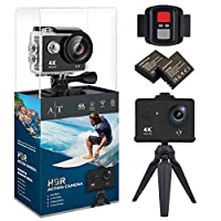 Auto Tech H9S Action Camera 4K Waterproof Wifi Sports Camera Full HD 4K 25FPS 2.7K 30fps 1080P 60fps Video Camera 12MP Photo, 170 Wide Angle Lens Includes 11 Mountings Kit 2 Batteries |Just Like GoPro