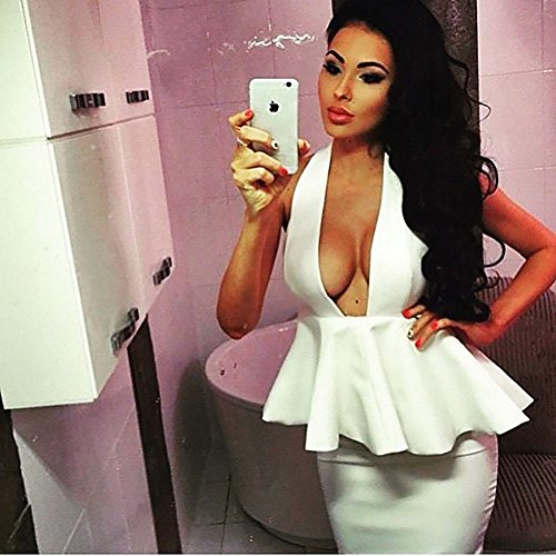 HLBandage Women Peplum Halter Backless Bodycon Bandage Dress Blanco