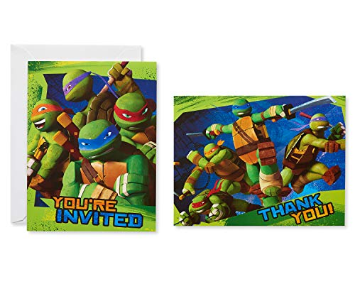 American Greetings Teenage Mutant Ninja Turtles Party Supplies, Invite and Thank You Combo, 8-Count -