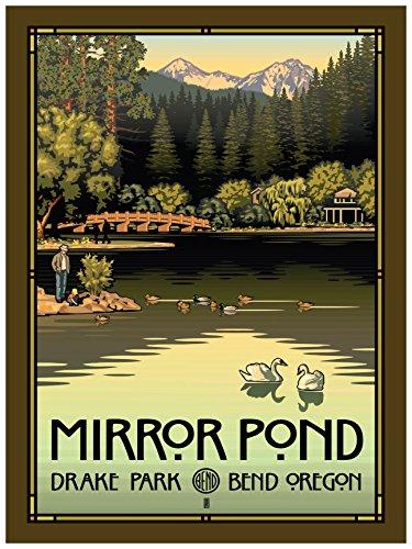 Mirror Pond In Drake Park, Bend Oregon Giclee Travel Art Pos