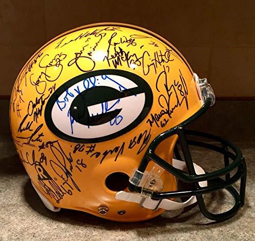 Packers SB XXXII Team Signed Brett Favre Game Model Model Pro NFL Helmet BAS - Beckett Authentication
