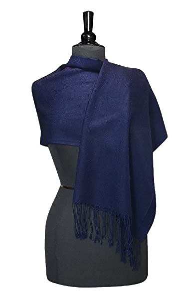 ee2c84273859c Biagio 100% Wool Pashmina Solid Scarf NAVY BLUE Color Women's Shawl Wrap  Scarves at Amazon Women's Clothing store: