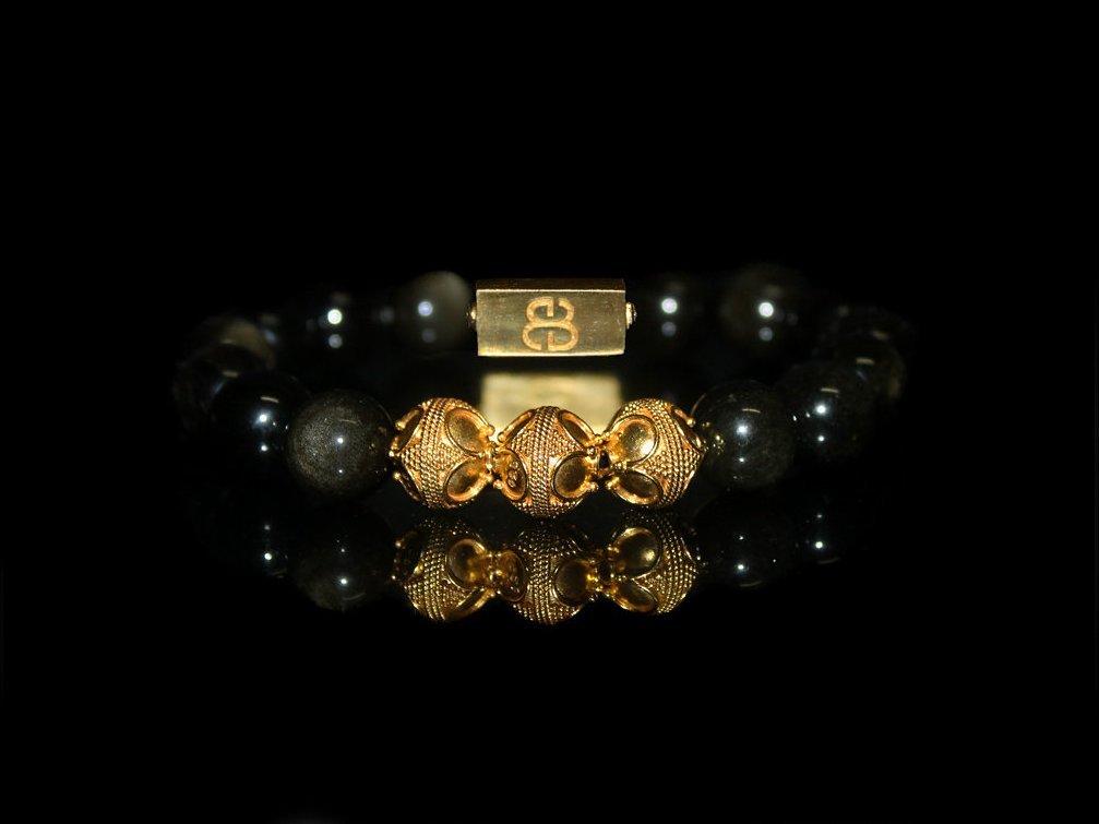 Golden Shimmer Obsidian Bracelet, Golden Obsidian Bracelet, Men's Gold Beads Bracelet