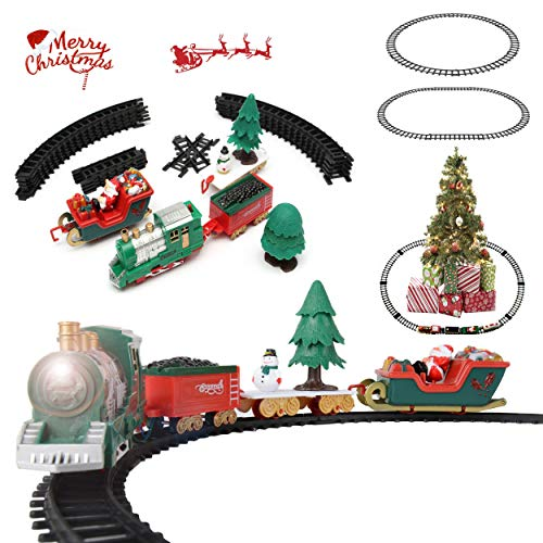 Santa Claus Train - Battery Operated Classic Christmas Santa Clause Train and Carriage Toy Set with Music and Lights, Great Christmas Gift for Kids
