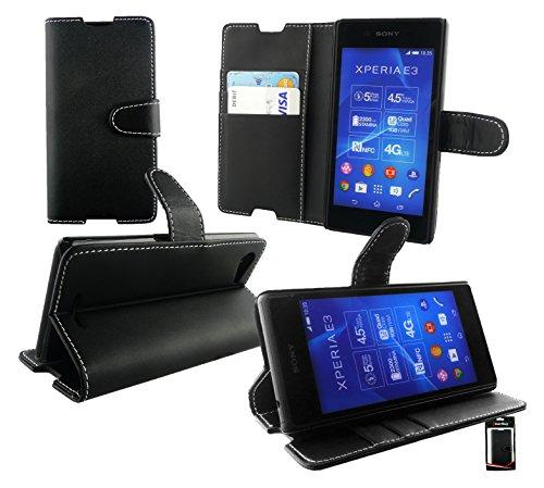 Emartbuy® Sony Xperia E3 / Xperia E3 Dual Premium PU Cuero Funda Wallet Soporte Sobremesa Carcasa Case Cover Alta Calidad Negro con Tarjeta de Crédito Slots Wallet Case en Negro