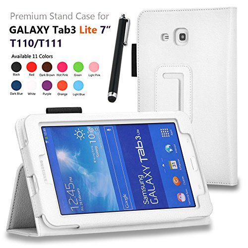 """onWay(TM) Premium Premium Folio Leather Case Cover for Samsung Galaxy Tab 3 Lite 7.0 SM-T110 / T111 7.0 Inch Android Tablet + Gift: free stylus touch pen X 1 (White, Tab 3 Lite 7.0"""")"""