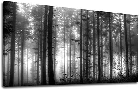 Amazon Com Yearainn Foggy Forest Canvas Wall Art Black And White