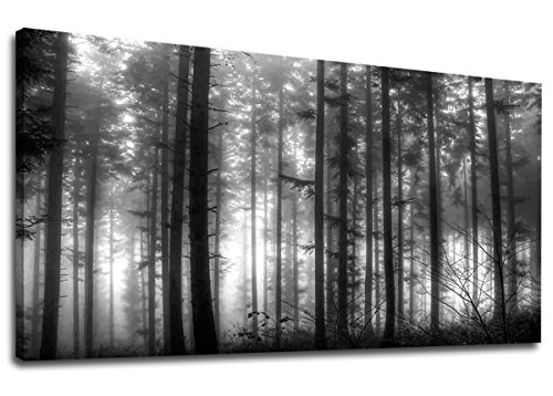 (yearainn Large Foggy Forest Canvas Wall Art Black and White Landscape Pictures Modern Canvas Artwork Misty Woods Contemporary Nature Canvas Art for Home Office Wall Decor 24