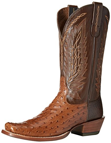 Ariat Men's Stock Show Western Cowboy Boot, Brandy Full Quill Ostrich/Royal Tobacco, 10.5 D US