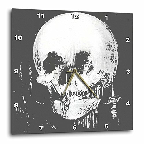 3dRose All Is Vanity Ghost, Halloween, Optical Illusion, Paranormal, Seasonal, Silhouette, Skeleton Wall Clock, 10 by 10'' by 3dRose