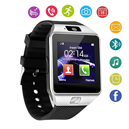 DZ09 Bluetooth Smart Watch Touch Screen with Camera and SIM Card TF/SD Card Slot Pedometer Activity Tracker for iphone android phones Samsung HUAWEI PK GT08 A1 (Silver)