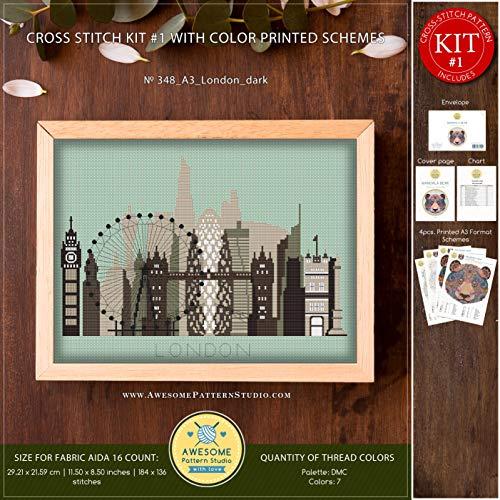 (A3 London Dark #K348 Embroidery Cross Stitch Kit   City Skyline Stitching   Cross Stitch World   Needlepoint Kits   Cross Pattern   Stitch Patterns)