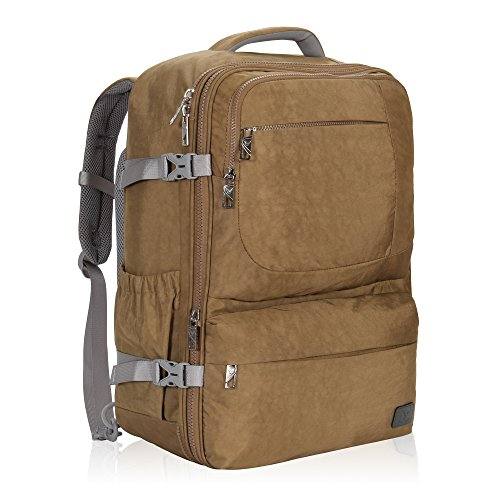 Access Rolling Backpack (Hynes Eagle 44L Carry on Backpack Flight Approved Compression Travel Pack Cabin Bag, Khaki)