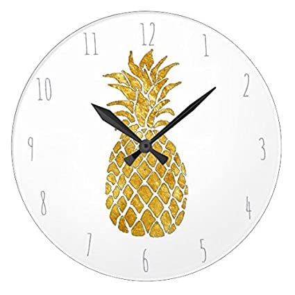 Ordinaire Funny Wall Clocks Decorative For Living Room Golden Pineapple Nursery Round  Wood Clock For Kitchen Decor