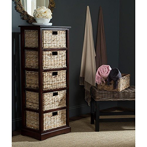 Safavieh American Homes Collection Vedette Cherry 5 Wicker Basket Storage Tower (Wicker And Wood Drawers)